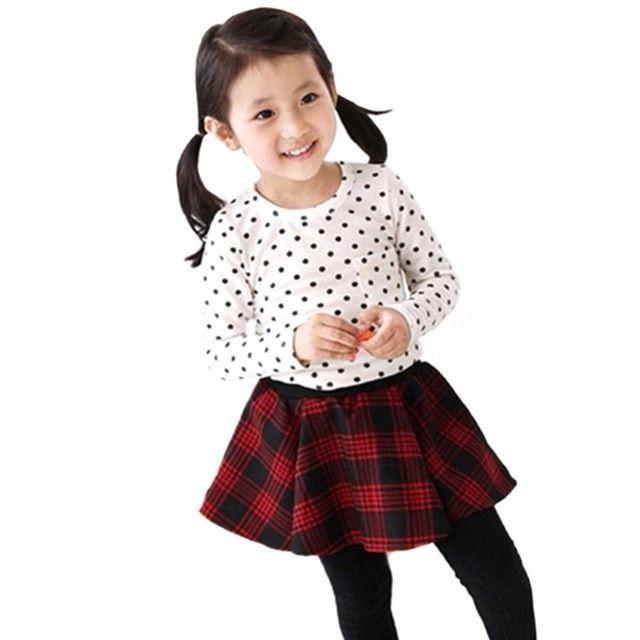 Bebé Girls manga larga de lunares T-shirt de algodón blusa Casual