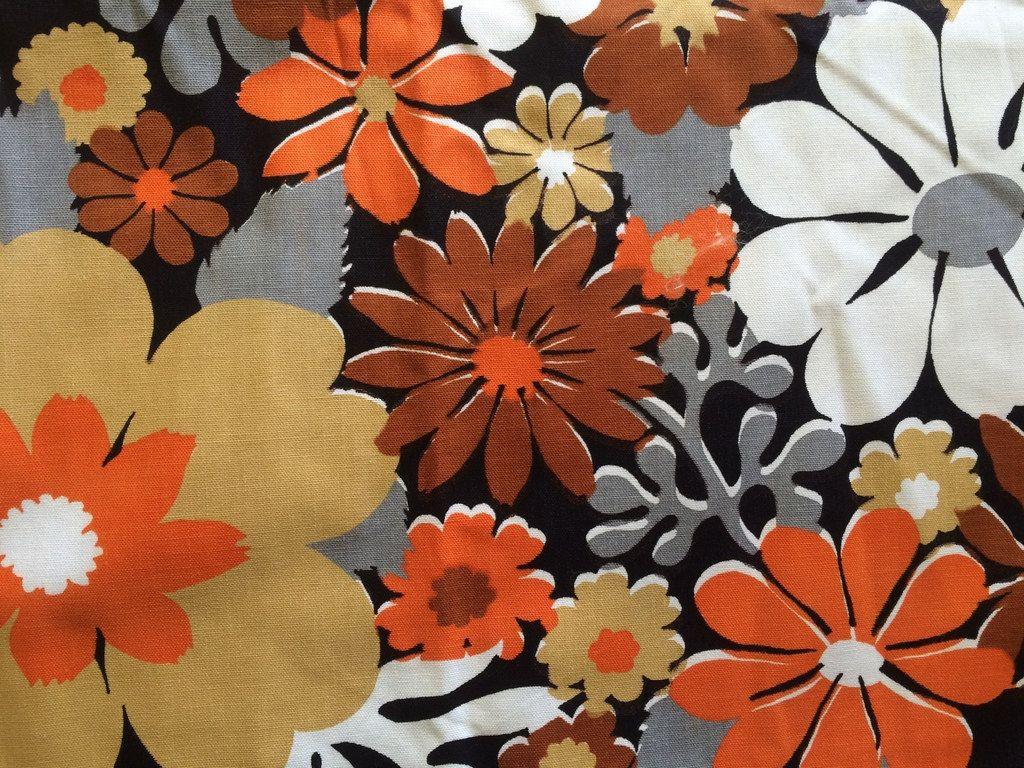 Cute Vintage 60s Mod Big Daisy Flower Fabric Orange Grey And White