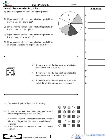 Probability Worksheets Basic Probability Worksheet Probability Worksheets Simple Probability Theoretical Probability