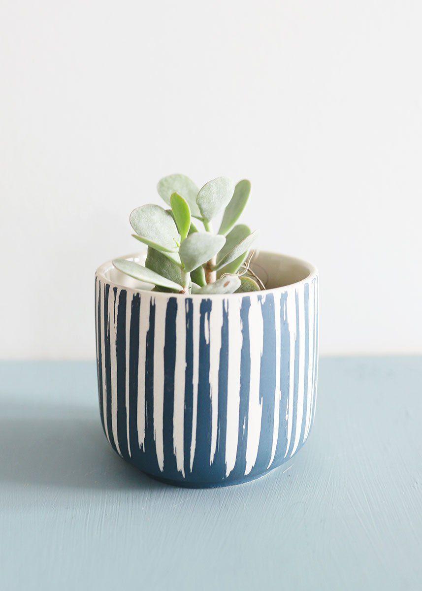Small Blue Flower Pot 3 5 Tall In 2020 Ceramic Flower Pots Flower Pots Small Flower Pots