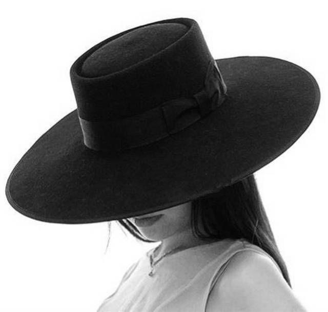 Black Wool Pork Pie Felt Fedora Porkpie Exra Large Wide Brim Floppy Hat 12cm Black Wide Brim Hat Women Hats Fashion Wide Brim Hat Outfit