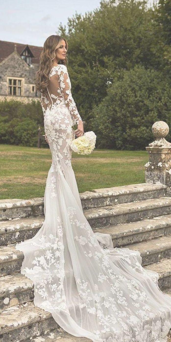 Long Sleeve Wedding Dresses Mermaid Illusion Back Floral With Long Sleeve Wedding Dress Lace Lace Wedding Dress With Sleeves Long Sleeve Mermaid Wedding Dress [ 1395 x 698 Pixel ]
