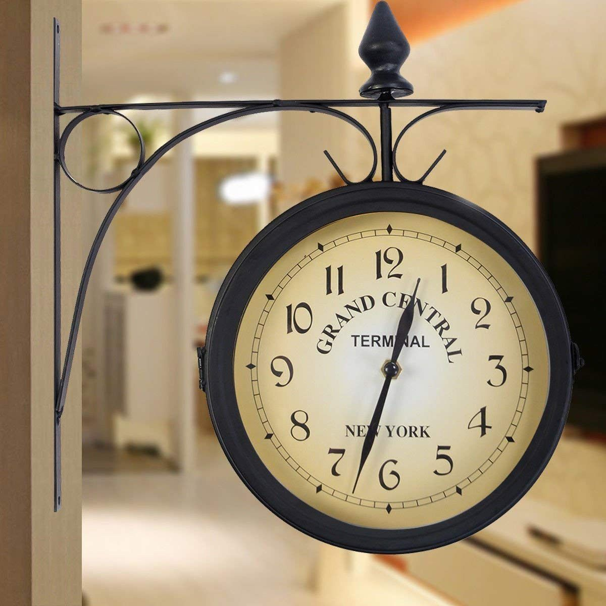 This Is Our Giantex Double Sided Wall Clock Which Features Its Vintage Design And Practical Use Hanging Clock Retro Clock Clock Decor