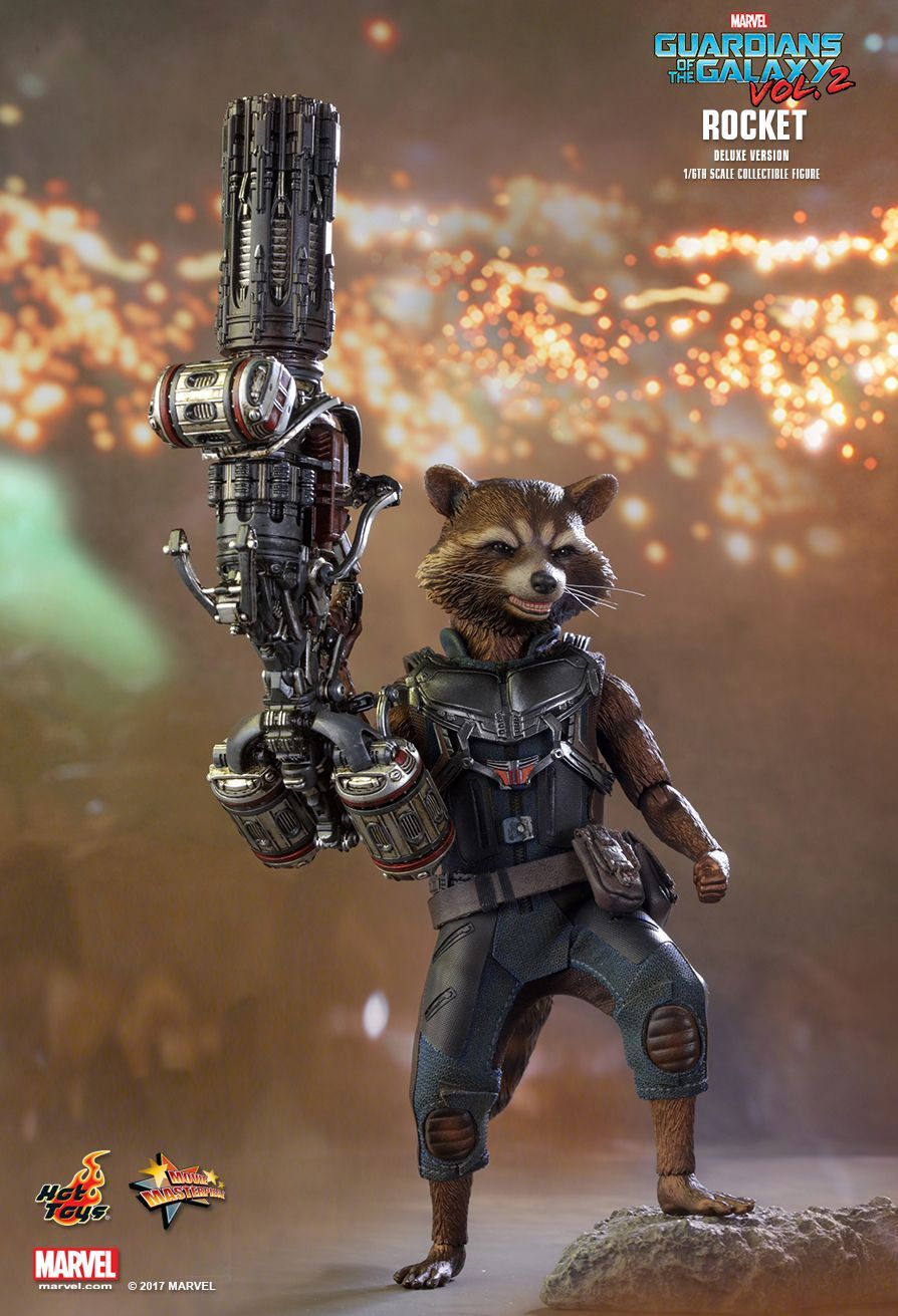 Hot Toys Guardians Of The Galaxy Vol 2 Rocket Deluxe Version 1 X2f 6th Scale Collectible Figure Hot Toys Guardians Of The Galaxy Rocket Raccoon