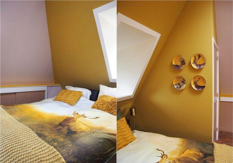 Farbe Ocker kombinierenschlafzimmerdachschrägebraun