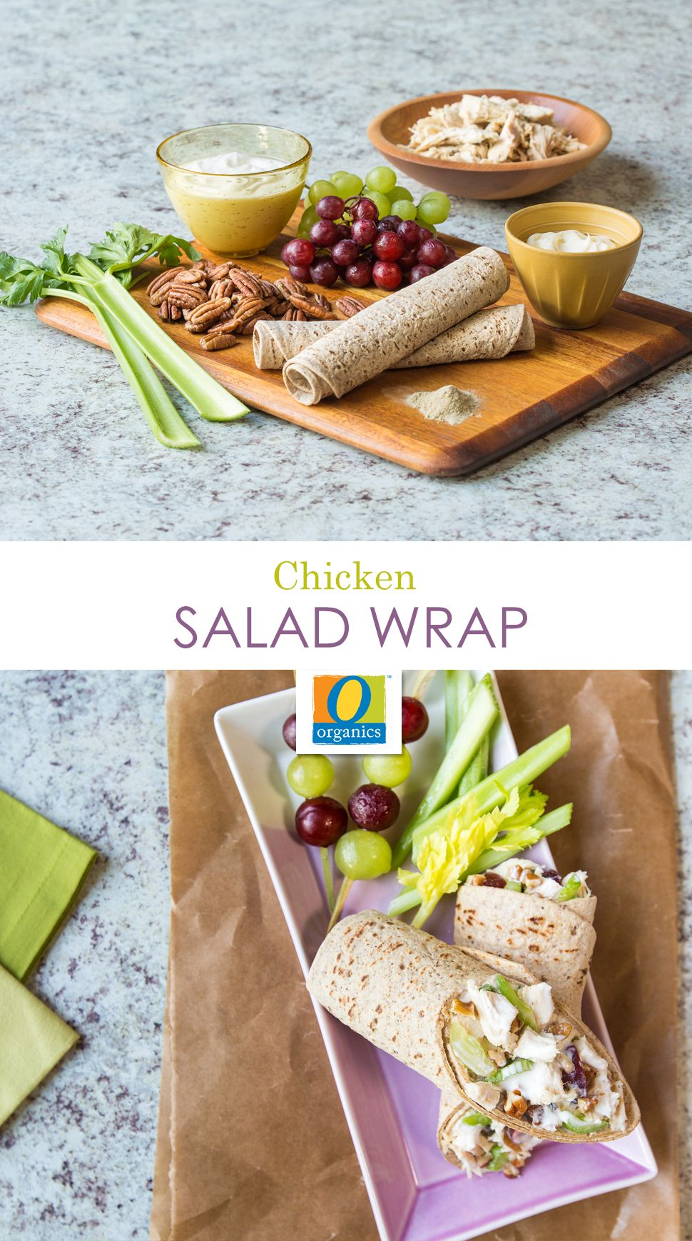 Chicken Salad Wraps – If you're looking for an easy and healthy lunchbox option for your kids, try this simple Chicken Salad Wrap recipe. It's one of many recipes we created to make the most of your week's tender and juicy Crockpot chicken meal prep.