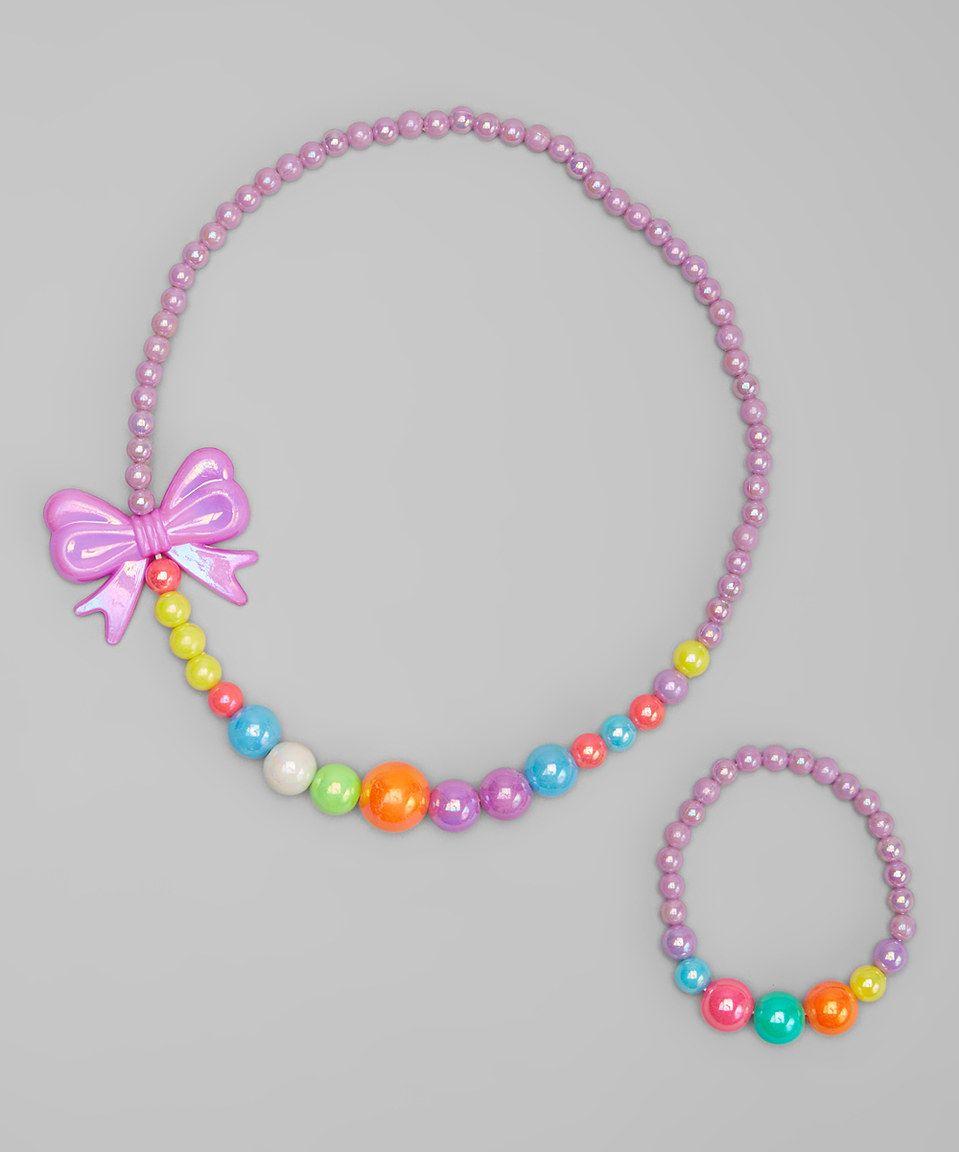 Look at this #zulilyfind! Purple Bow Bead Stretch Necklace & Bracelet by Cutie Pie Kid Couture #zulilyfinds