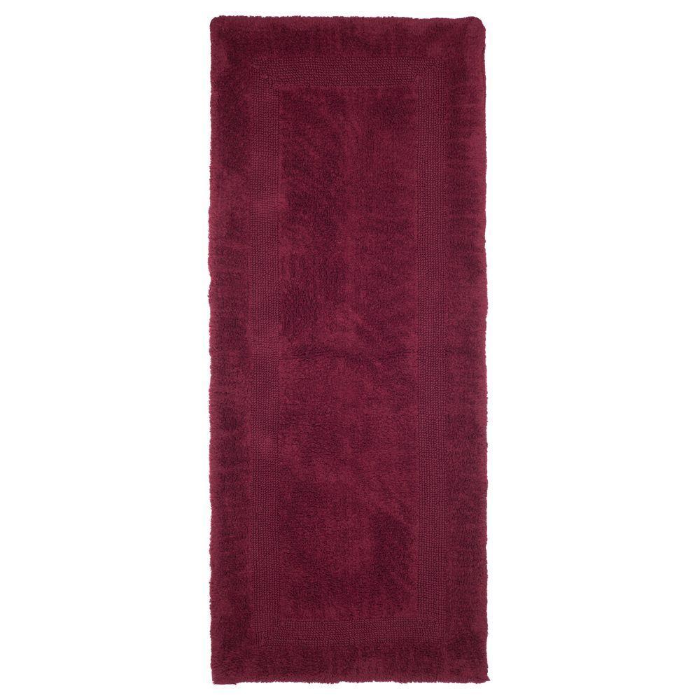 Lavish Home Burgundy 2 Ft X 5 Ft Cotton Reversible Extra Long Bath Rug Runner Red Rug Runner Long Bath Bathroom Runner Rug