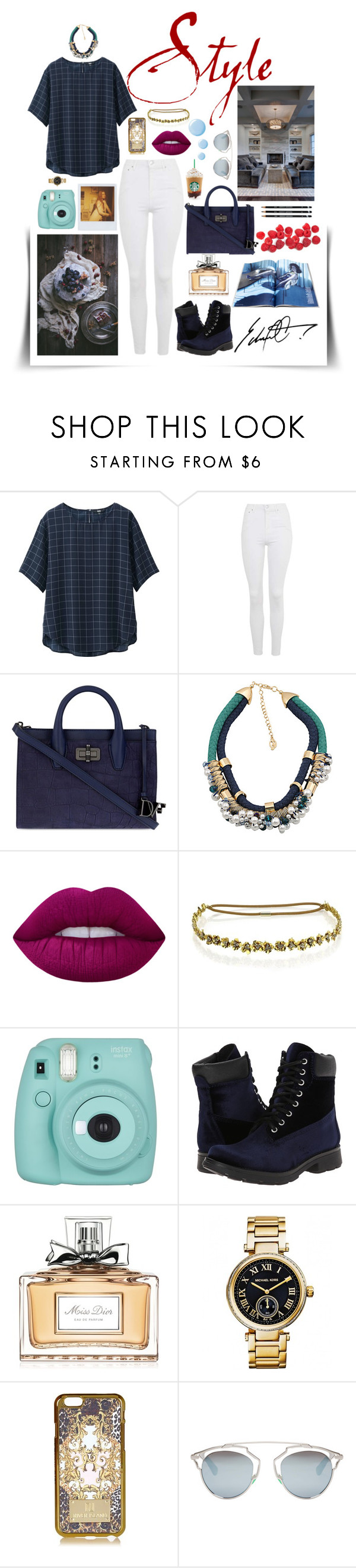 """STYLE 555"" by carmen-alejandra on Polyvore featuring moda, Uniqlo, Topshop, Diane Von Furstenberg, Chicnova Fashion, Band of Outsiders, Lime Crime, Jennifer Behr, Steve Madden y Christian Dior"