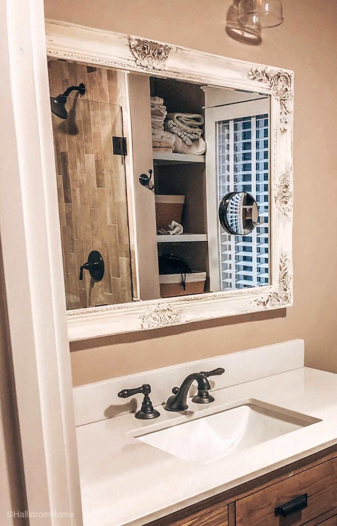 Dark Brown And White Distressed Bathroom Mirror Our Custom Vintage Style Mirrors Hand Painted To Ma Bathroom Mirror White Bathroom Mirror Vintage Style Mirror