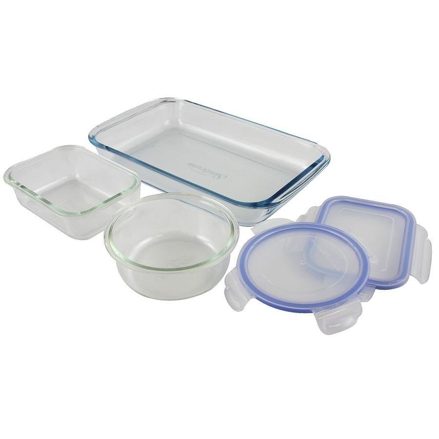 Sunbeam Blue 5 Piece Glass Bakeware Set 849100098m Bakeware