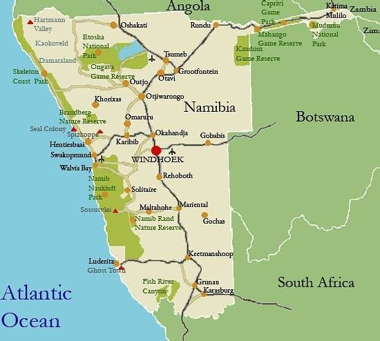 Namibia Tourist Map Namibia Pinterest Tourist map