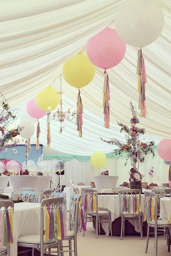 Un detalle original adornado el techo con globos gigantes - Como decorar una columna ...