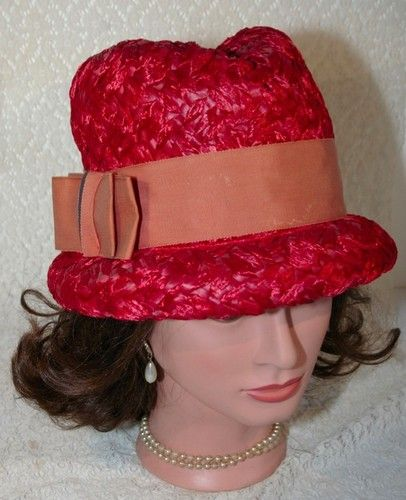 Vintage Ladies Red Woven Straw Cloche Fedora Dress Hat with a Large Bow $19.99