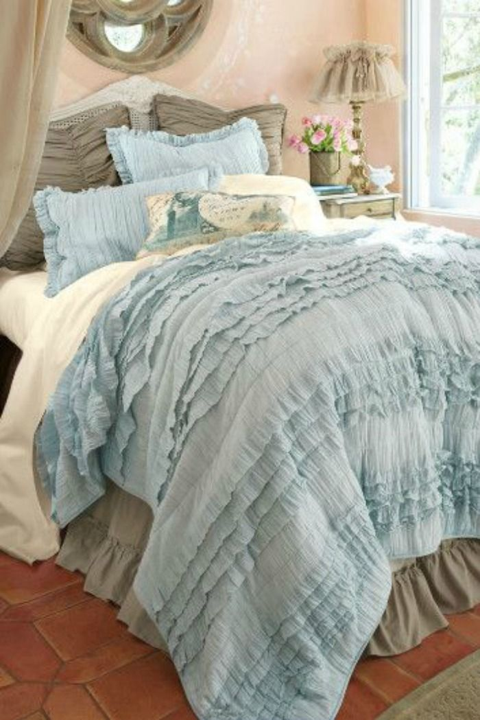 Blue and taupe bedroom from softsurroundings.com | Shabby ...