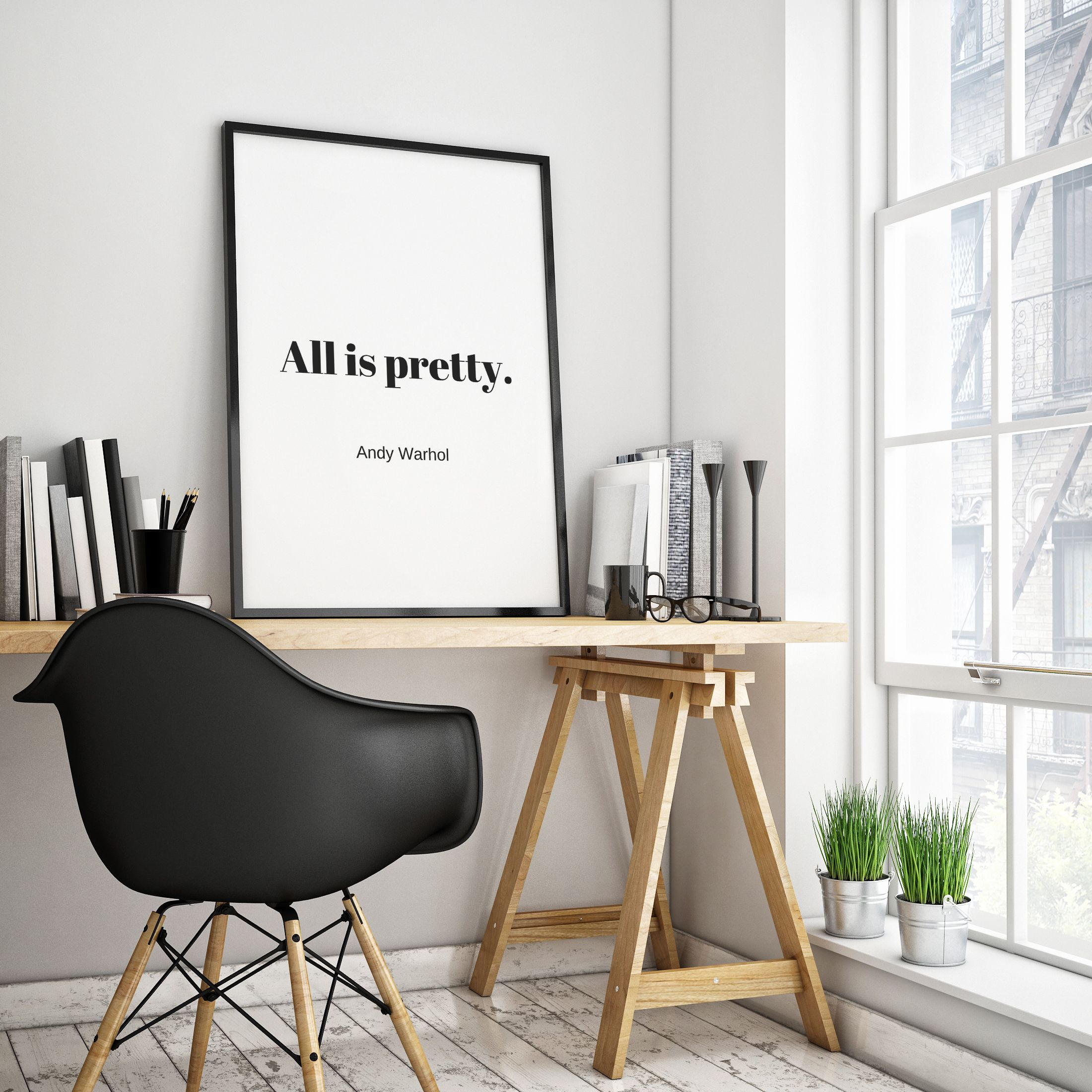 All is pretty Andy Warhol Minimal quote print