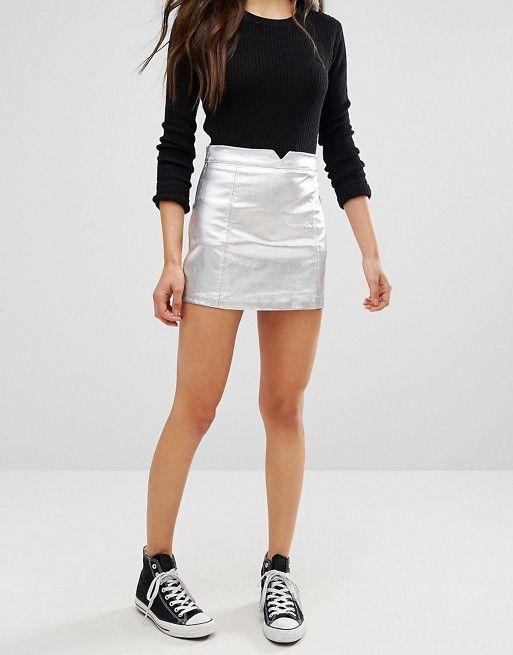 abb9e158b6 Pull&Bear Metallic Coated Mini Skirt | raver outfits in 2019 | Mini ...