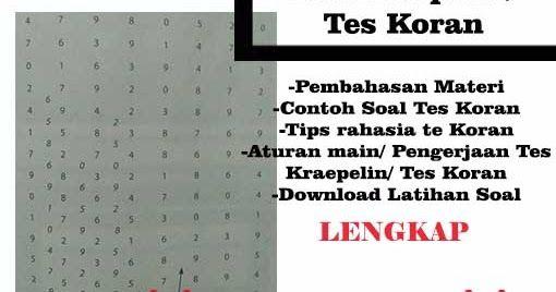 Tips Rahasia Cara Mengerjakan Tes Koran Tes Kraepelin Blog Anak Sholeh Indonesia Contoh Soal Psikotes Angka Ingin Lulus Pretest Pengetahuan Blog Matematika