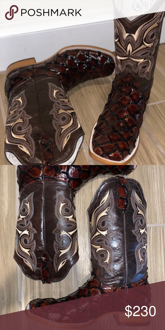 3174c69beac3 Men s new Pirarucu exotic boots Very exotic boots wood bottomed shanked  heel and durable boot! Reywelt Shoes Cowboy   Western Boots