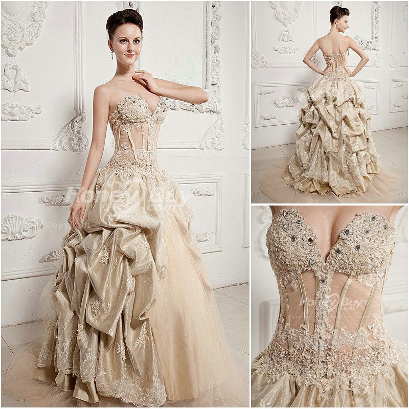 Champagne wedding dress sweetheart ball gown champagne for Champagne color wedding dresses