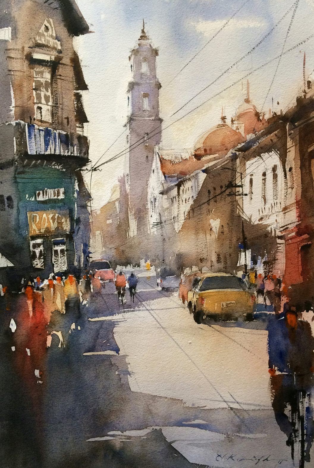 Watercolor Cityscape Painting By Indian Watercolor Artist Nitin