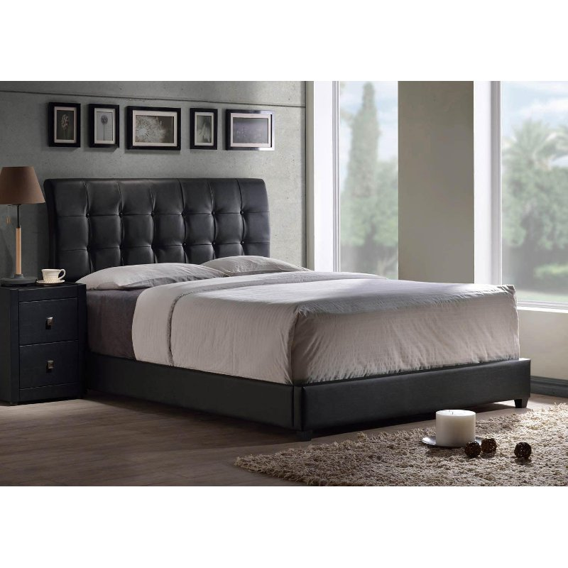 Black Contemporary Upholstered Twin Bed Lusso Leather Bed