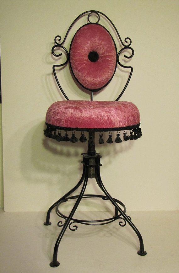 Vintage Vanity Chair Hollywood Regency Paris by IndigoPearlStudio, $215.00 - Vintage Vanity Chair Hollywood Regency Paris Chic Hot Pink And Black