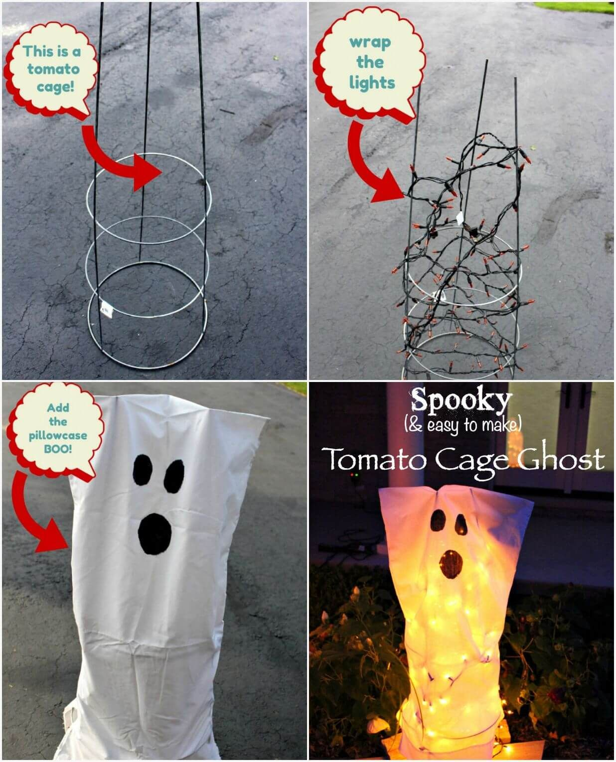 Tomato Cage Ghosts for Halloween- This was one of my very first - cute homemade halloween decorations