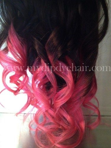 Ombre Hair Dip Dye Hair Dark Brown Pink Ombre Vibrant Pink Hair