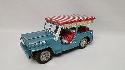 Vintage Jeep Tin Friction Tourist Beach Buggy W Candystripe Fringed Top Japan