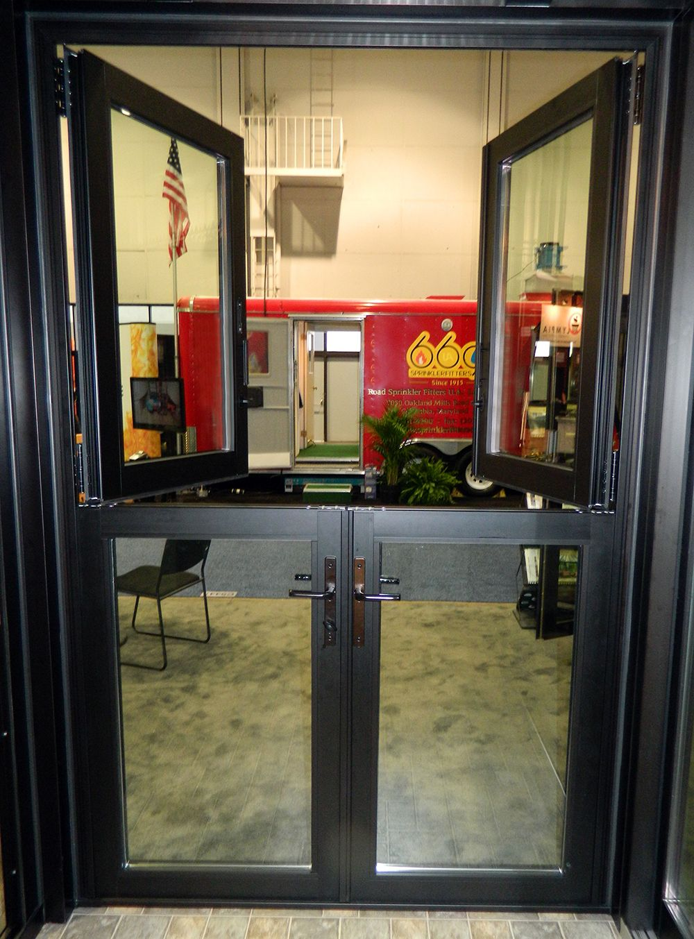 An All Glass Dutch Door Consists Of A Glass Infill In Both