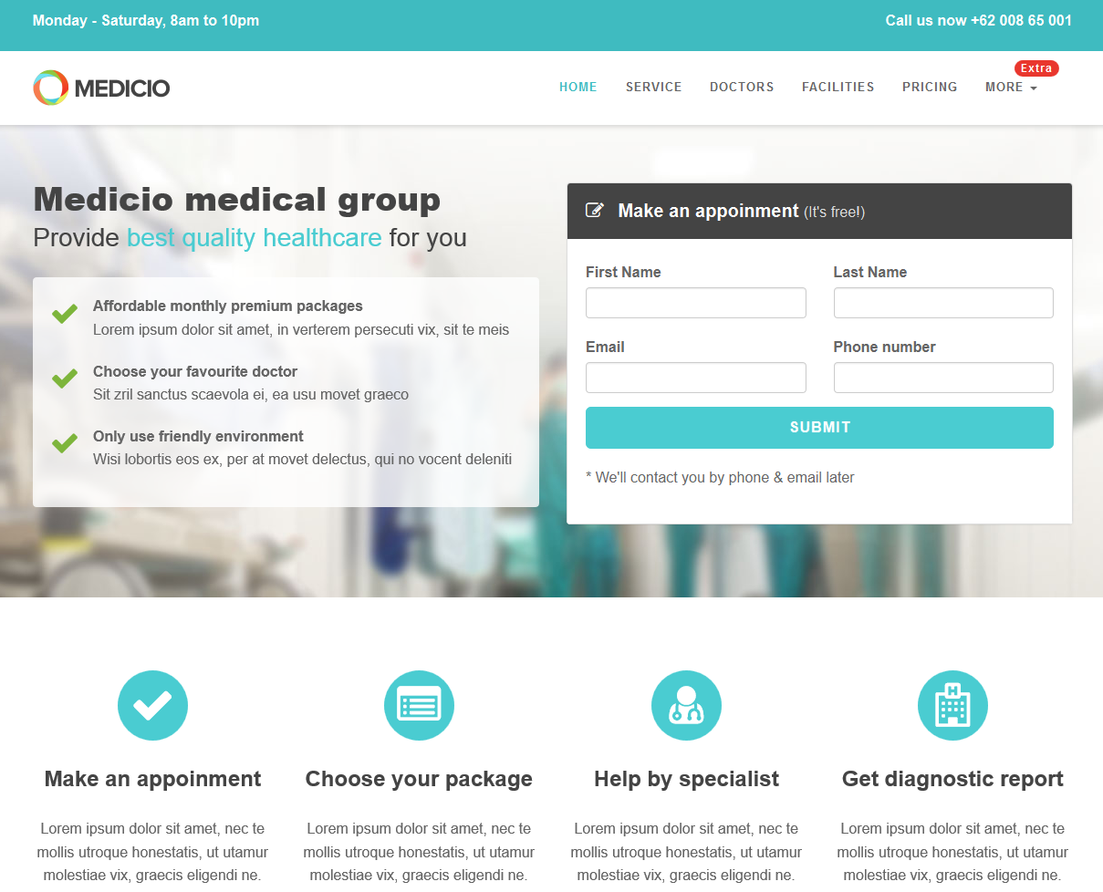 Medicio – Free Bootstrap Landing Page Theme, #Bootstrap, #CSS ...