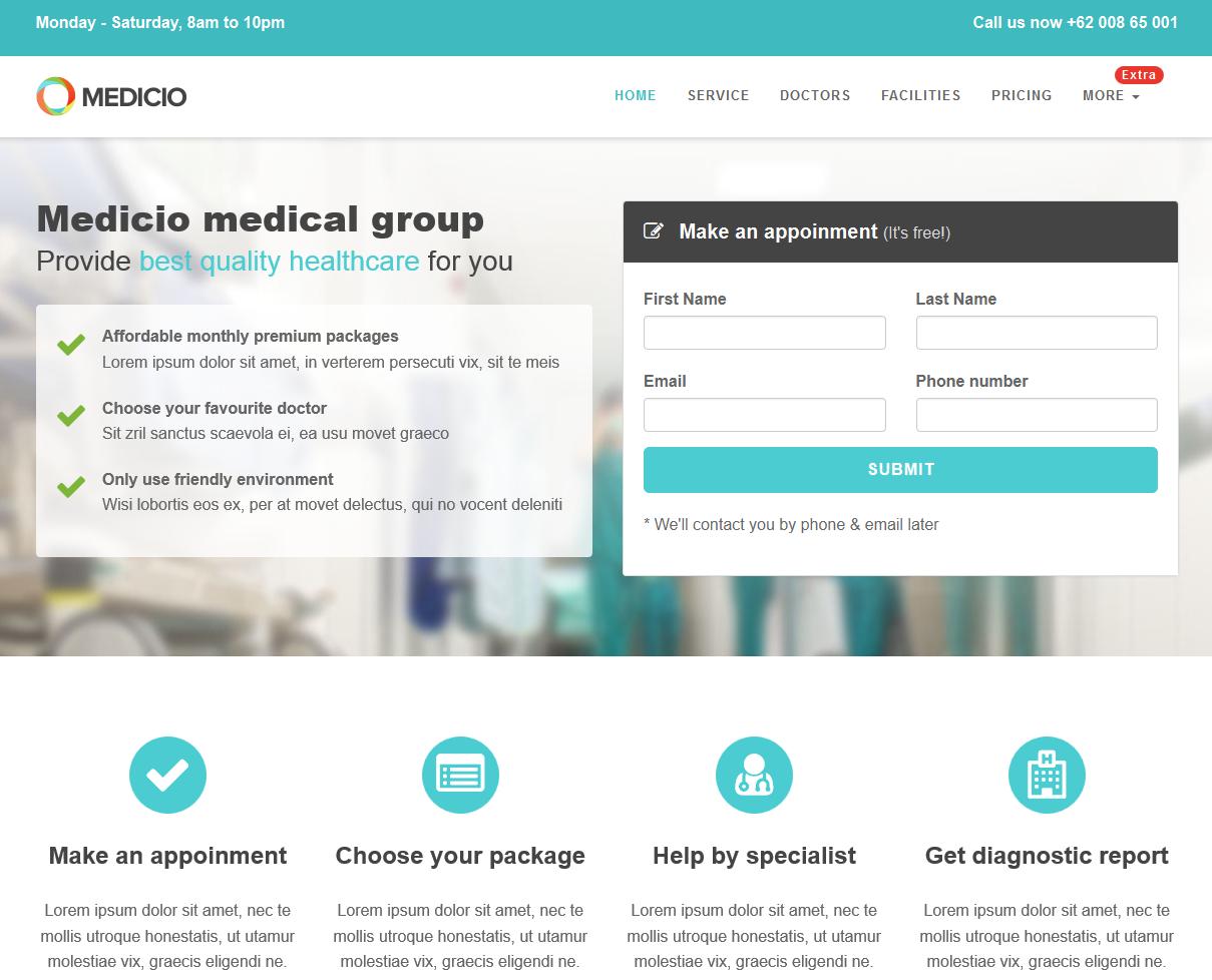 Medicio – Free Bootstrap Landing Page Theme | Design development ...
