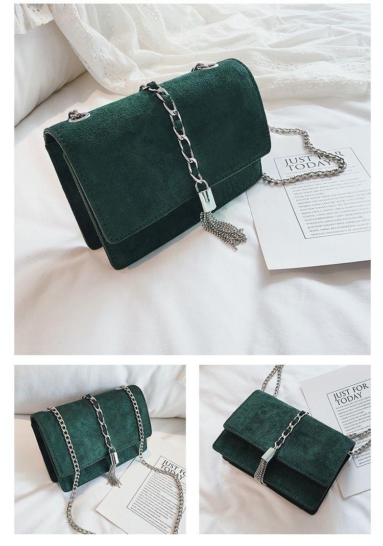 8e53b3fe72 Women Velvet Messenger Bag Chain Metal Tassel Female Small Flap Shoulder Bag  Brand Designer Lady Luxury
