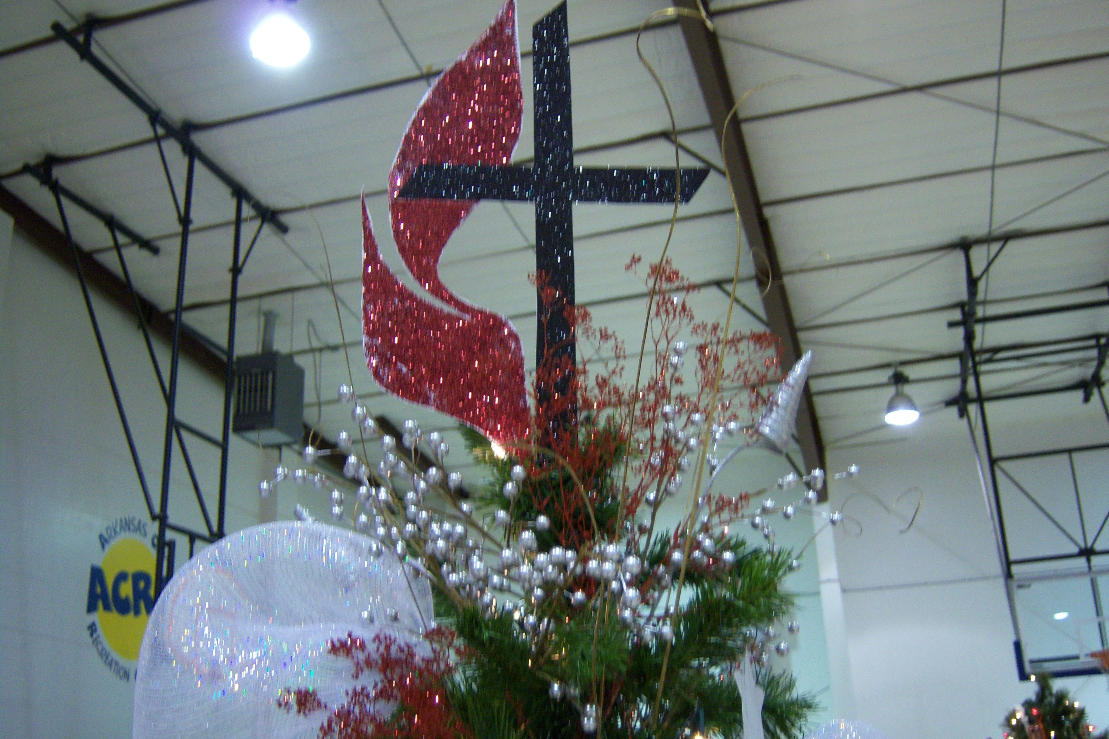 Flame And Cross Tree Topper