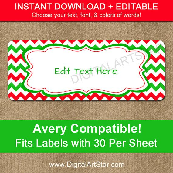Printable Christmas Address Labels - Edit in Adobe Reader - Holiday ...