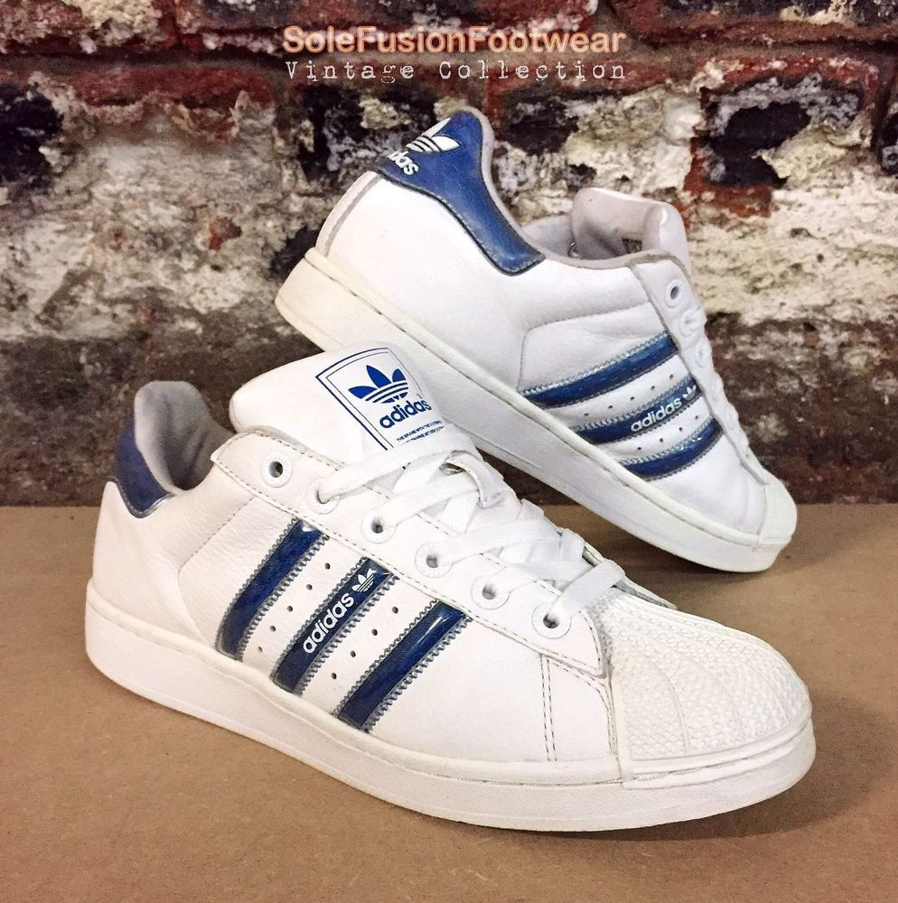 36c26af248c48 adidas Superstar Mens Trainers White Blue sz 10 Rare Sneakers US 10.5 EU 44  2 3