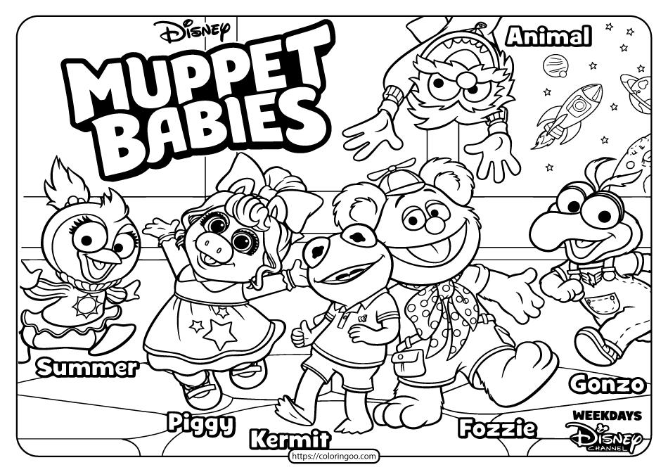 Printable Disney Muppet Babies Pdf Coloring Book In 2020 Baby Coloring Pages Muppet Babies Family Coloring Pages