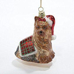 Kurt Adler 3 1 2 Inch Noble Gems Glass Yorkshire Terrier Christmas