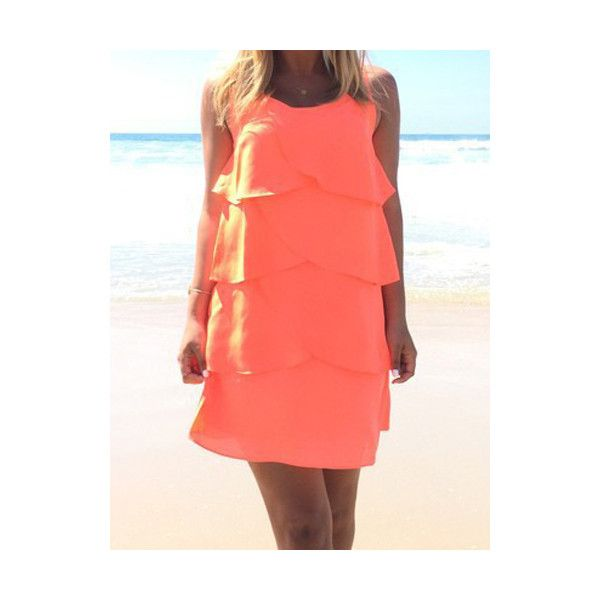 Trendy Scoop Neck Sleeveless Flounce Layered Dress For Women (£9.97) ❤ liked on Polyvore featuring dresses, orange, orange sleeveless dress, sleeveless ruffle dress, layered dress, ruffle dress and layered ruffle dress