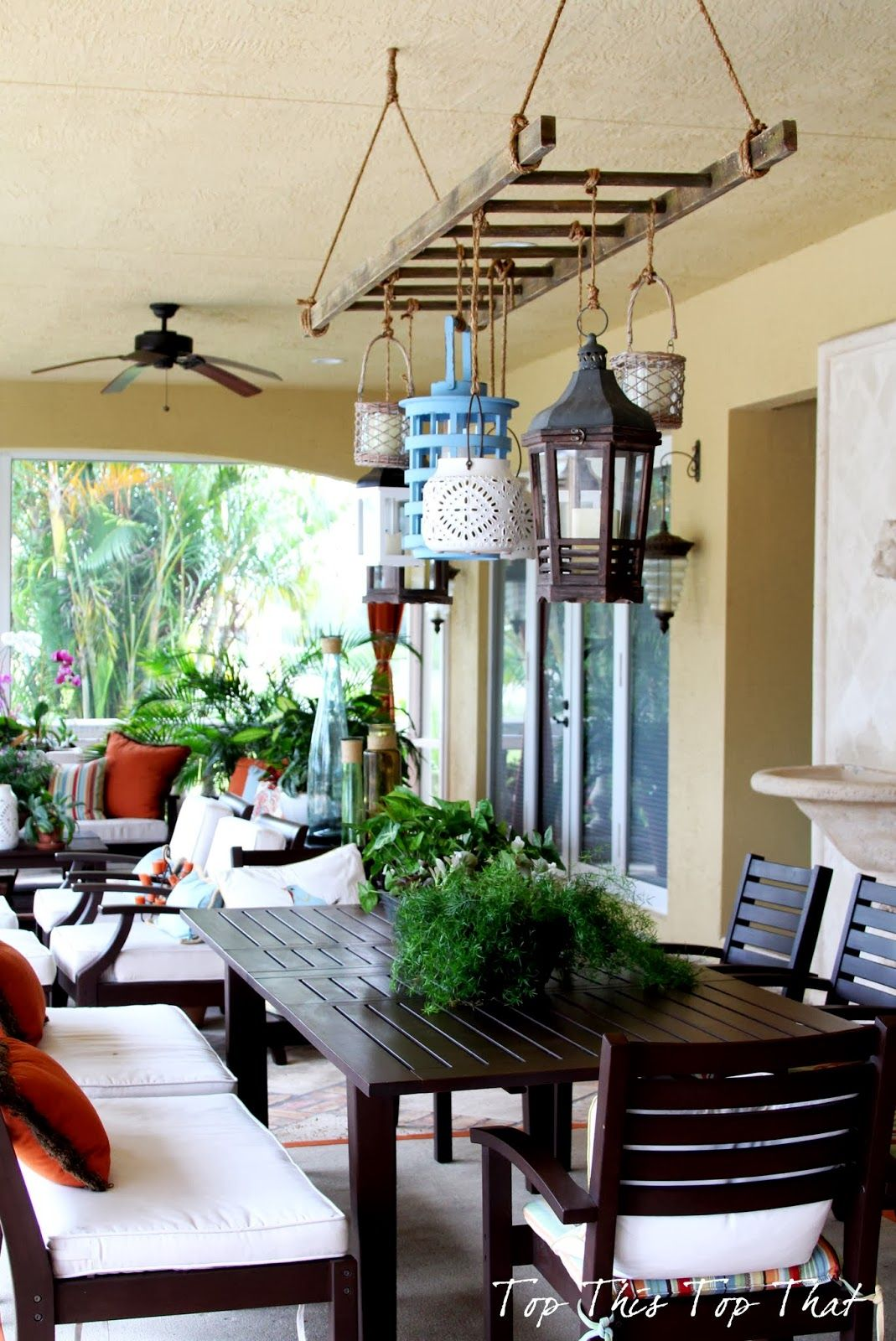 Outdoor hanging lanterns for patio - Ladder And Lantern Patio Lighting Very Interesting