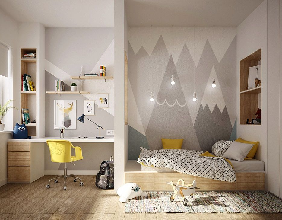 How to Divide a Room into Two Zones: 12 Ways and 25 Original Samples #kidsroom