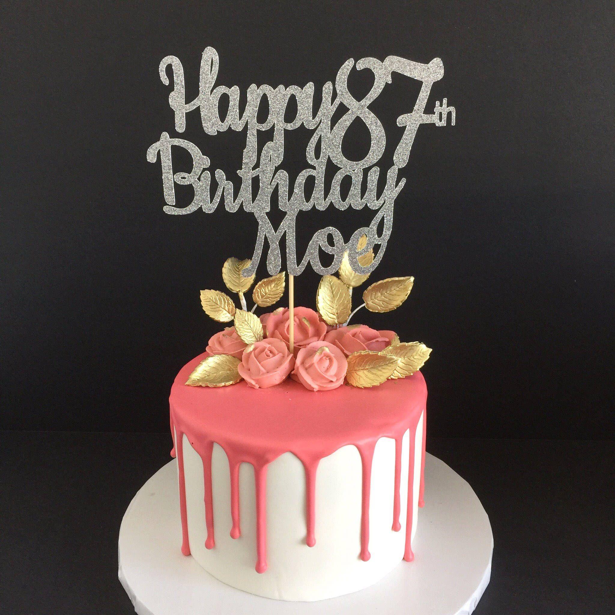 Any name any age happy birthday cake topper birthday cake