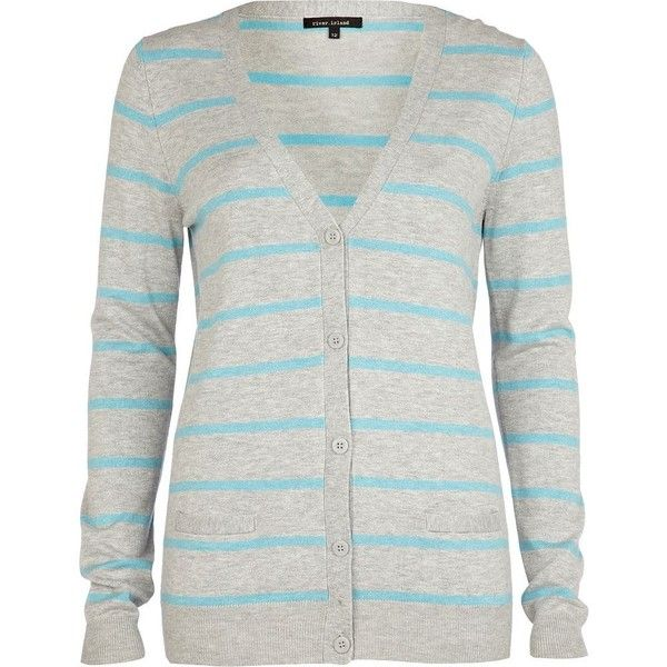 River Island Grey Stripe V Neck Cardigan ❤ liked on Polyvore