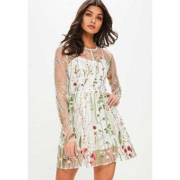 8b5197089aa7 Missguided Floral Mesh Skater Dress (£32) ❤ liked on Polyvore featuring  dresses, white, short white dresses, floral embroidery dress, long sleeve  dress, ...