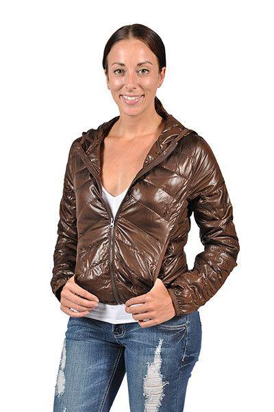 C'EST Toi Fashion Women's Quilted Hoddie Jacket-Brown