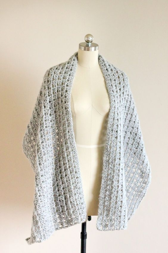Free crochet pattern for this beautiful shawl scarf. Tutorial for ...