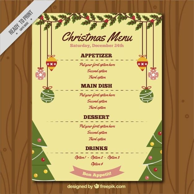 Menu template with christmas ornaments Free Vector #Christmas - free xmas menu templates