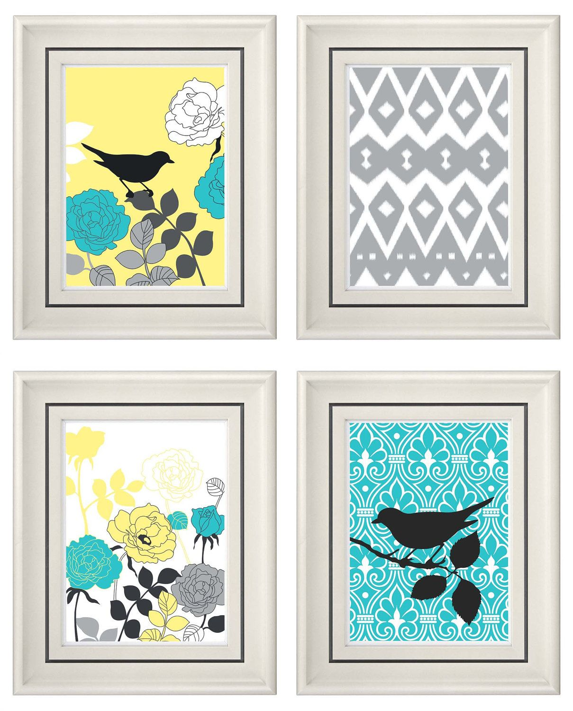 set of four modern vintage turquoise yellow wall art print set