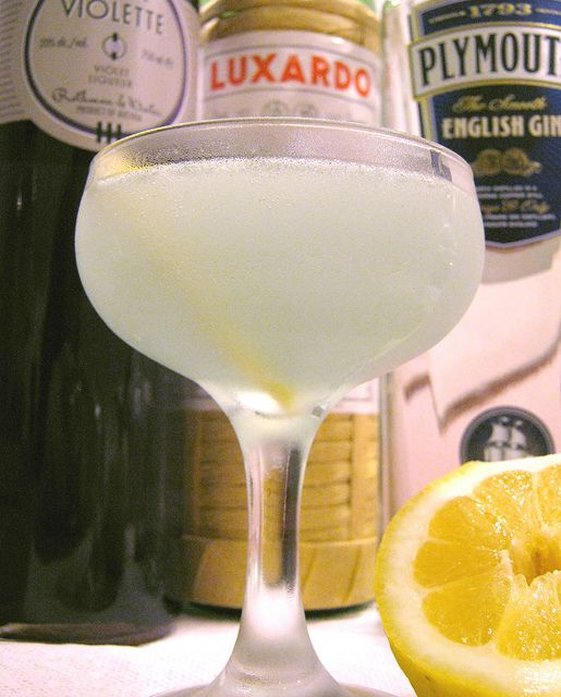 Aviation - a classic, delicious gin cocktail.    1.5 oz. dry gin (Plymouth)  .5 oz. maraschino liqueur (Luxardo)  .5 oz fresh lemon juice  .25 oz crème de violette (Rothman & Winter)